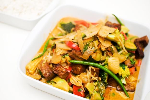 vegansk thai saus gryte tofu