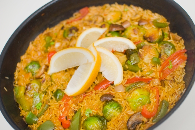 spansk paella risrett vegetar vegan oppskrift